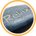 Stein mit Schriftzug 'Relax'